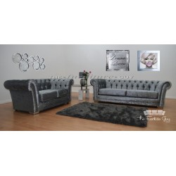 Chesterfield 3+2 Crushed Velvet Silver