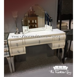 White Curved Mirrored Dressing Table