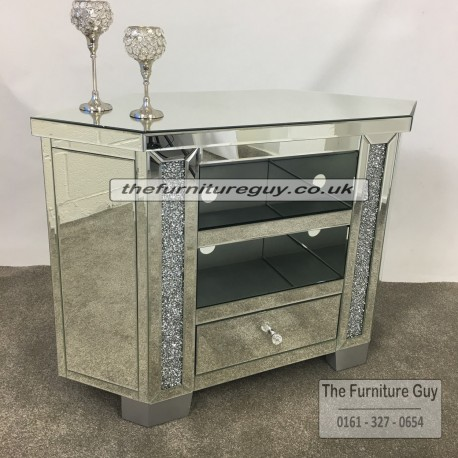 Milano Crushed Diamond Tall Corner TV Unit