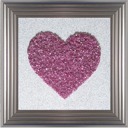 Heart Pink Cluster On White Glitter [55 x55cm]