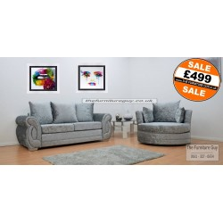 Chloe 3 Seater & Swivel Chair [Silver]