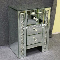 CRUSHED DIAMOND 3 DRAWER BEDSIDE