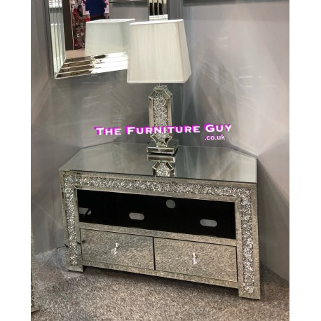 New Crystal Mirror Tv Unit The, Mirrored Glass Corner Tv Stand