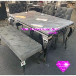 Louis 1,5 Grey Marble Dining Set