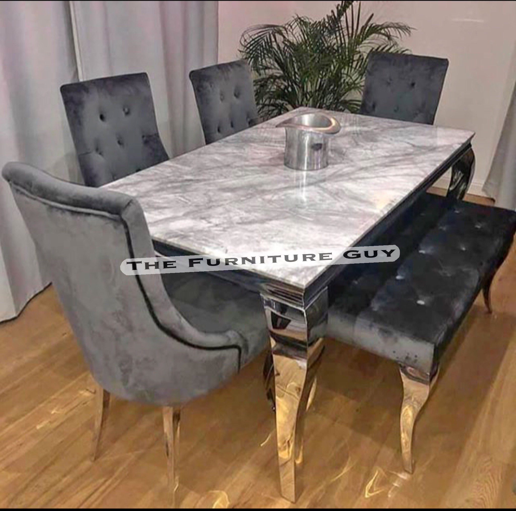 Louis Grey Marble Dining Set 1 5mtr The Furniture Guy