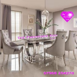 Ariana 1,8 Marble Dining Set - Knocker Chairs