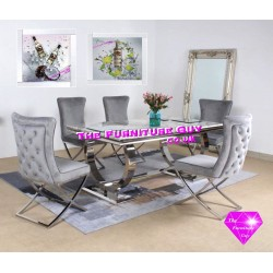 Ariana 1,6mtr  Marble Dining Set - Lexi Chairs