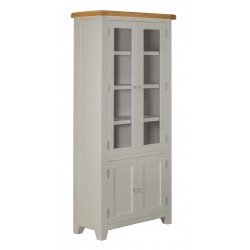 Lucca Oak Display Cabinet  [Grey/Natural]