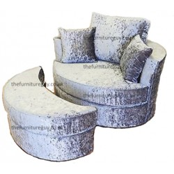 Swivel Chair & Half-Moon Crush Velvet