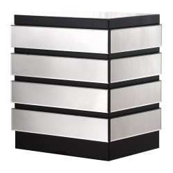 Mirrored 4-Drawer Chest with Black Trim