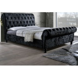 Cheshire Sleigh Bed Crushed Velvet