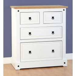 Corona 2+2 Drawer Chest White