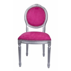 ROUND BACK SIDE CHAIR SILVER/PINK