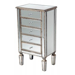 Venezia Mirror Antique Silver 5-Drawer Chest