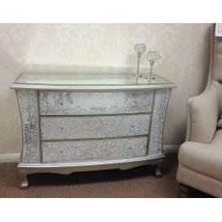 WHITE WIDE CRACKLE CHEST 3 DRAWERS